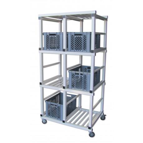 Chariot porte bacs PVC - 3 compartiments